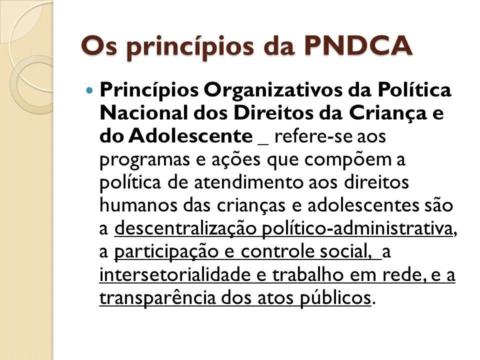Os princípios da PNDCA Princípios Organizativos da Política Nacional dos Direitos da Criança e do Adolescente _ refere-se aos programas e ações que co