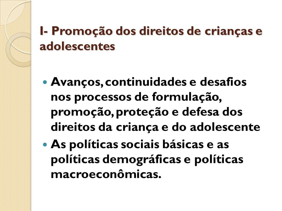 I- Promoção dos direitos de crianças e adolescentes Avanços, continuidades e desafios nos processos de formulação, promoção, proteção e defesa dos dir