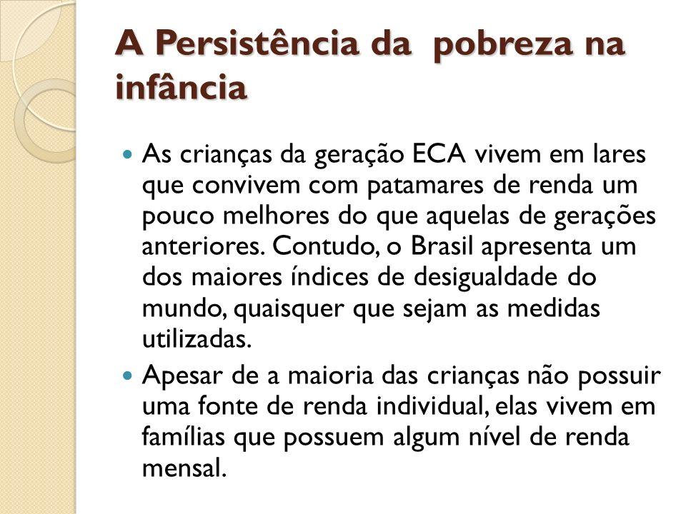A Persistência da pobreza na infância As crianças da geração ECA vivem em lares que convivem com patamares de renda um pouco melhores do que aquelas d