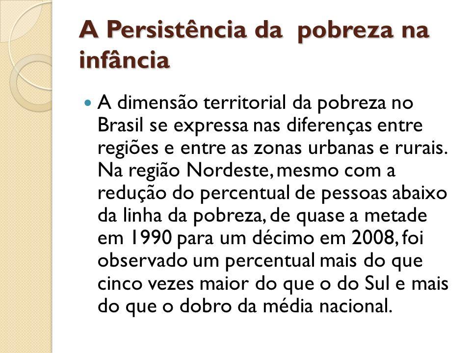 A Persistência da pobreza na infância A dimensão territorial da pobreza no Brasil se expressa nas diferenças entre regiões e entre as zonas urbanas e