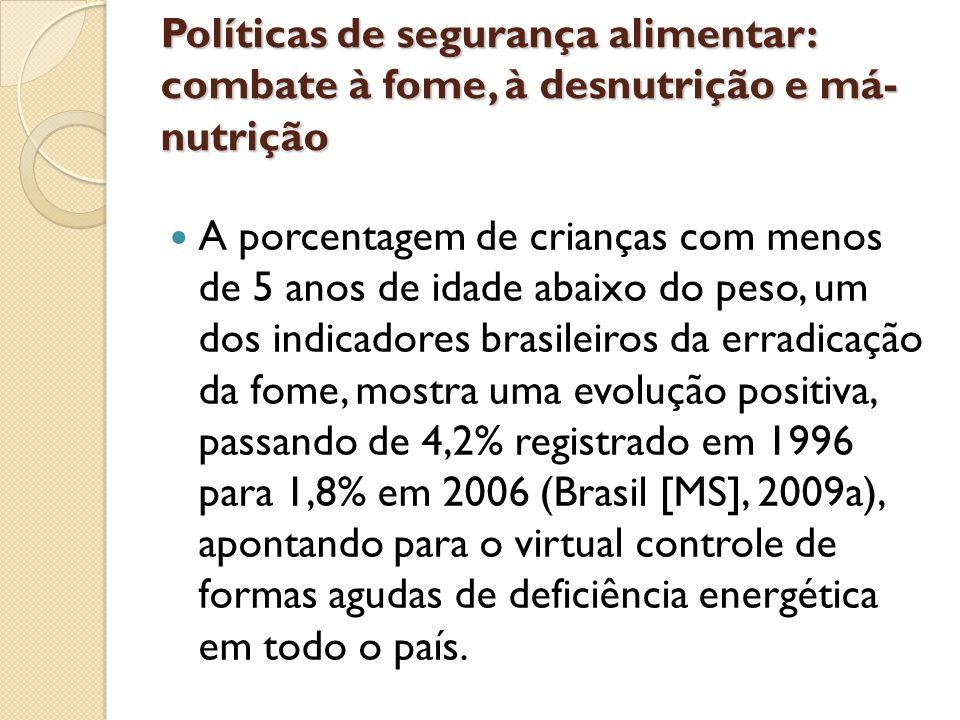 Políticas de segurança alimentar: combate à fome, à desnutrição e má- nutrição A porcentagem de crianças com menos de 5 anos de idade abaixo do peso,