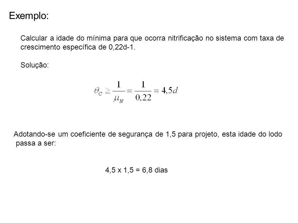 Exemplo: Calcular a idade do mínima para que ocorra nitrificação no sistema com taxa de crescimento específica de 0,22d-1.
