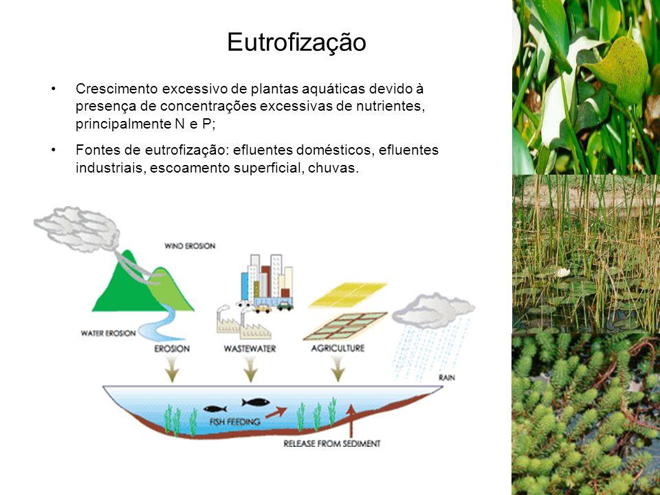 Eutrofização Crescimento excessivo de plantas aquáticas devido à presença de concentrações excessivas de nutrientes, principalmente N e P; Fontes de eutrofização: efluentes domésticos, efluentes industriais, escoamento superficial, chuvas.