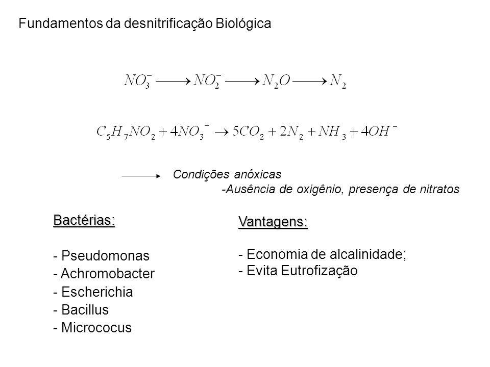 Fundamentos da desnitrificação Biológica Bactérias: - Pseudomonas - Achromobacter - Escherichia - Bacillus - MicrococusVantagens: - Economia de alcalinidade; - Evita Eutrofização Condições anóxicas -Ausência de oxigênio, presença de nitratos