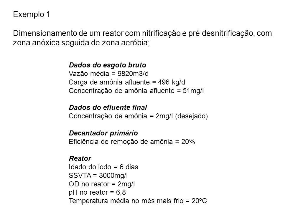 Exemplo 1 Dimensionamento de um reator com nitrificação e pré desnitrificação, com zona anóxica seguida de zona aeróbia; Dados do esgoto bruto Vazão média = 9820m3/d Carga de amônia afluente = 496 kg/d Concentração de amônia afluente = 51mg/l Dados do efluente final Concentração de amônia = 2mg/l (desejado) Decantador primário Eficiência de remoção de amônia = 20% Reator Idado do lodo = 6 dias SSVTA = 3000mg/l OD no reator = 2mg/l pH no reator = 6,8 Temperatura média no mês mais frio = 20ºC