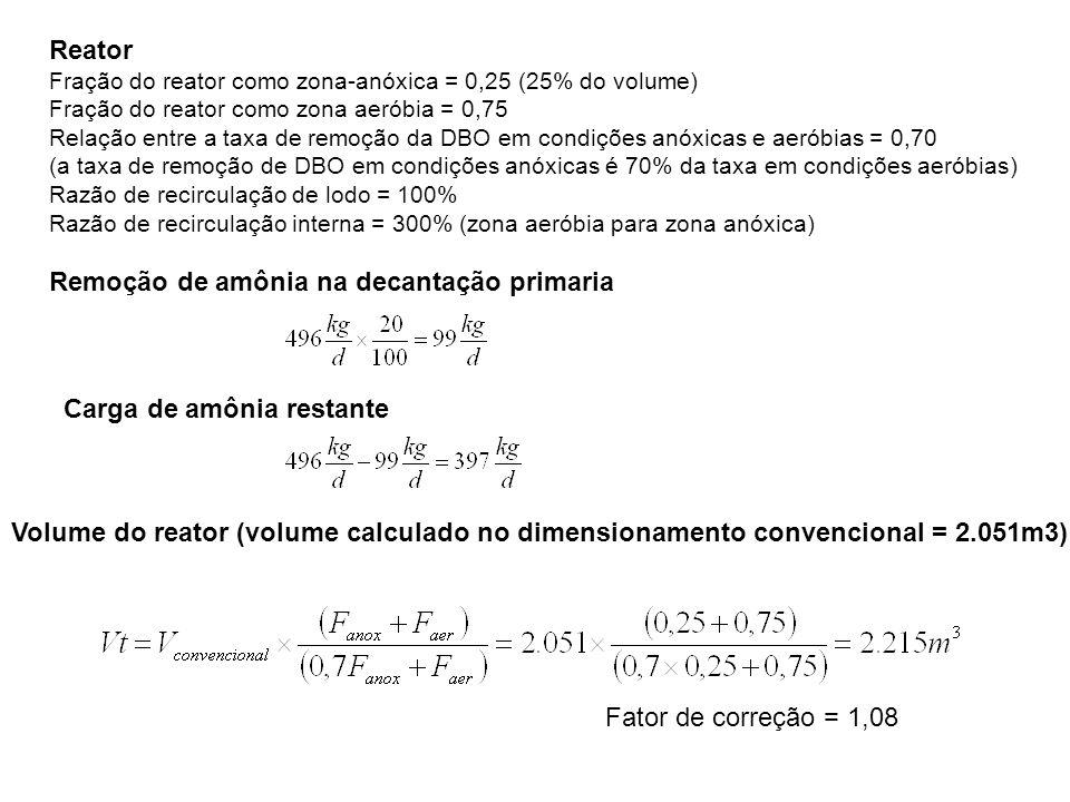 Reator Fração do reator como zona-anóxica = 0,25 (25% do volume) Fração do reator como zona aeróbia = 0,75 Relação entre a taxa de remoção da DBO em condições anóxicas e aeróbias = 0,70 (a taxa de remoção de DBO em condições anóxicas é 70% da taxa em condições aeróbias) Razão de recirculação de lodo = 100% Razão de recirculação interna = 300% (zona aeróbia para zona anóxica) Remoção de amônia na decantação primaria Carga de amônia restante Volume do reator (volume calculado no dimensionamento convencional = 2.051m3) Fator de correção = 1,08