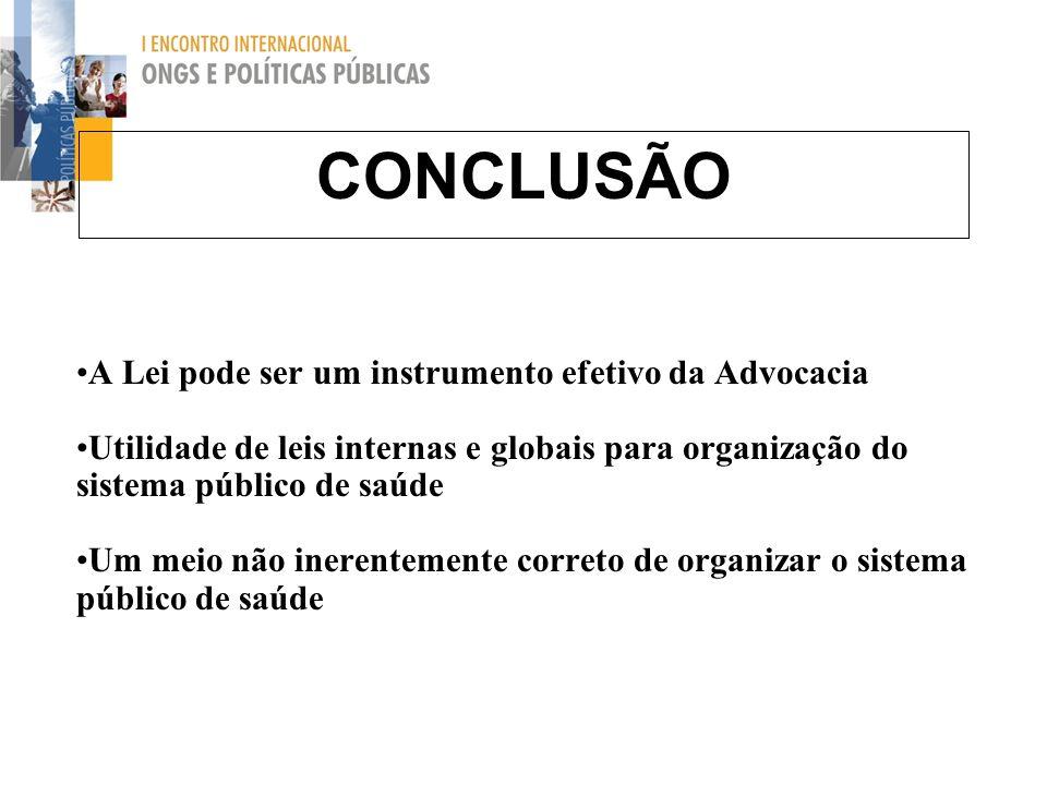 CONCLUSÃO A Lei pode ser um instrumento efetivo da Advocacia Utilidade de leis internas e globais para organização do sistema público de saúde Um meio