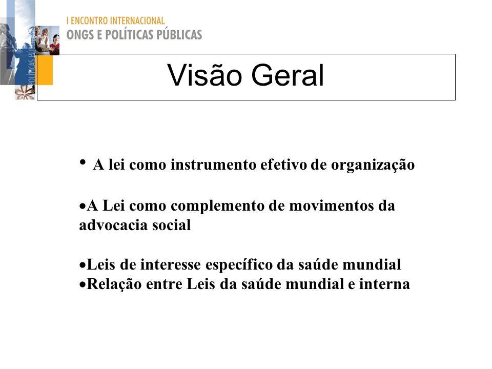 A lei como instrumento efetivo de organização A Lei como complemento de movimentos da advocacia social Leis de interesse específico da saúde mundial R
