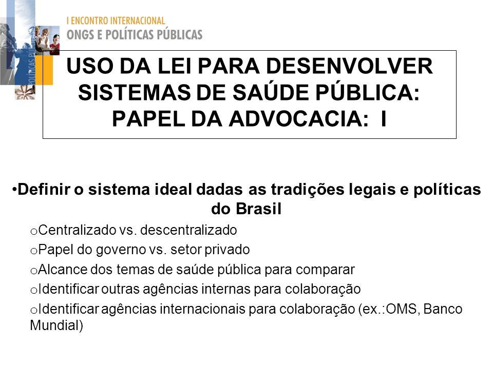USO DA LEI PARA DESENVOLVER SISTEMAS DE SAÚDE PÚBLICA: PAPEL DA ADVOCACIA: I Definir o sistema ideal dadas as tradições legais e políticas do Brasil o