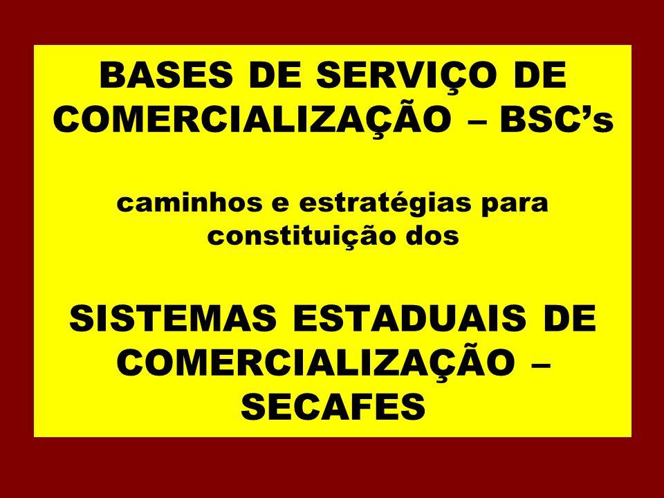 BASES DE SERVIÇO DE COMERCIALIZAÇÃO – BSCs caminhos e estratégias para constituição dos SISTEMAS ESTADUAIS DE COMERCIALIZAÇÃO – SECAFES