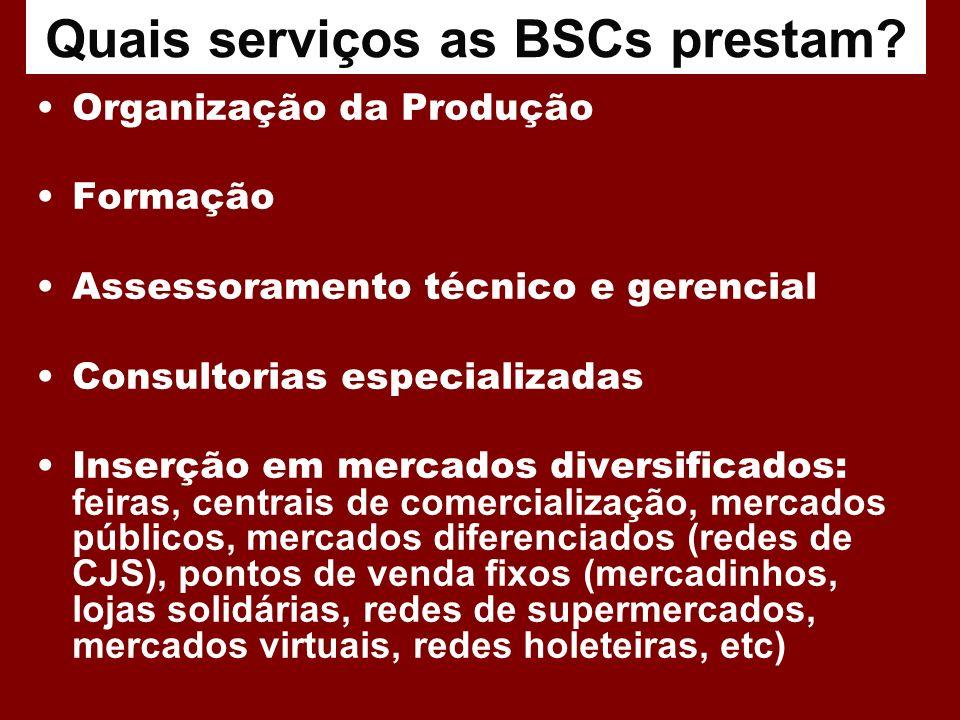 Quais serviços as BSCs prestam? Organização da Produção Formação Assessoramento técnico e gerencial Consultorias especializadas Inserção em mercados d