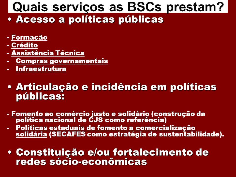 Acesso a políticas públicasAcesso a políticas públicas - Formação - Crédito - Assistência Técnica -Compras governamentais -Infraestrutura Articulação