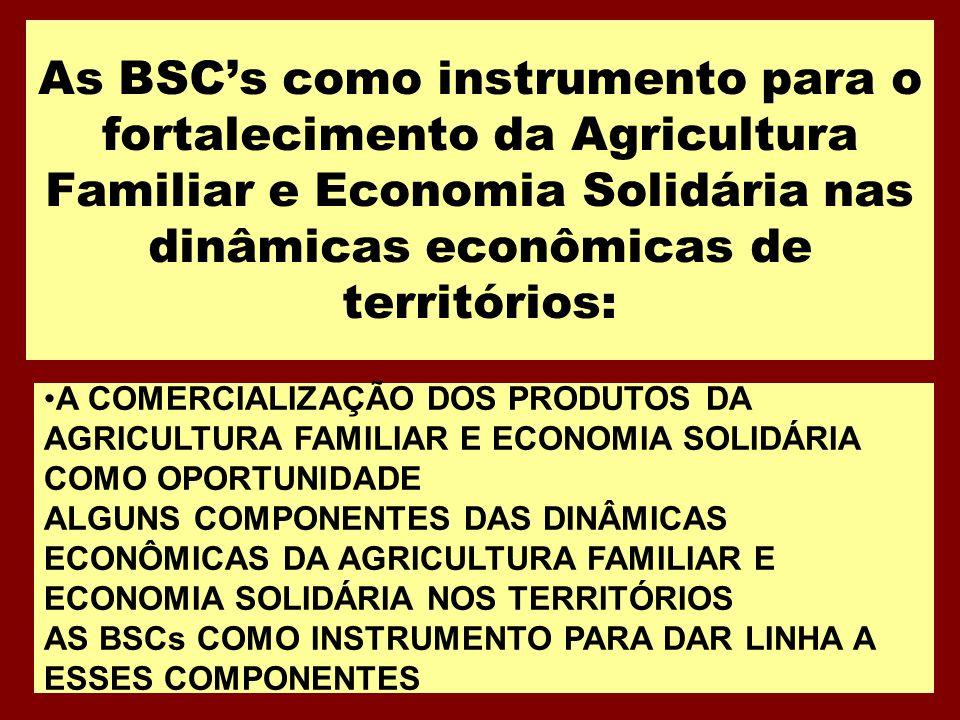 As BSCs como instrumento para o fortalecimento da Agricultura Familiar e Economia Solidária nas dinâmicas econômicas de territórios: A COMERCIALIZAÇÃO