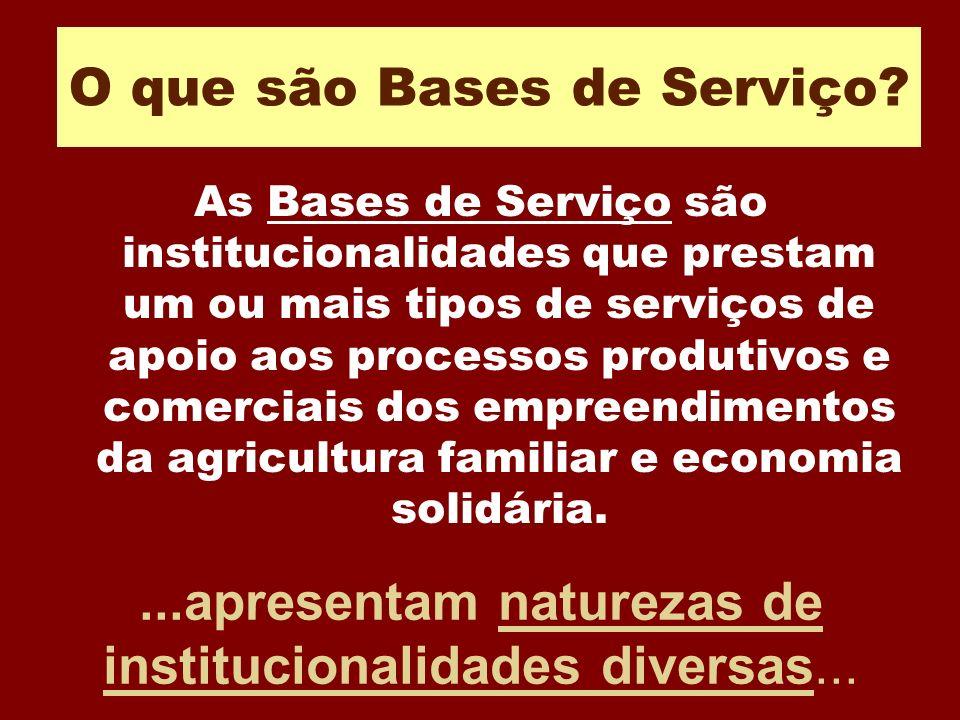O que são Bases de Serviço? As Bases de Serviço são institucionalidades que prestam um ou mais tipos de serviços de apoio aos processos produtivos e c