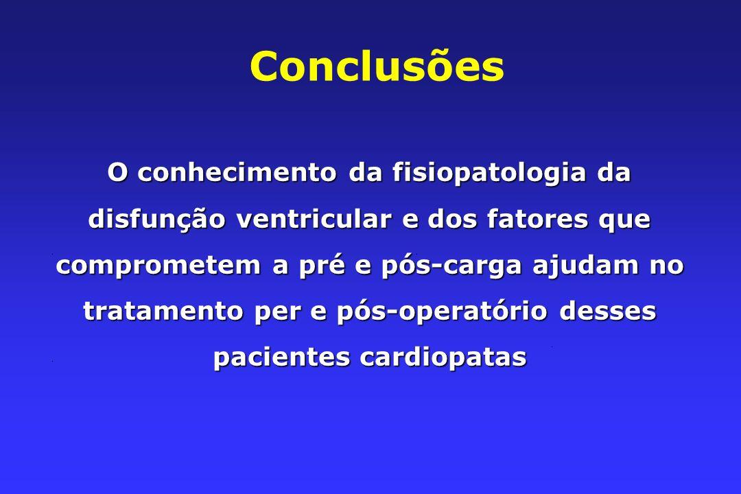 Conclusões O conhecimento da fisiopatologia da disfunção ventricular e dos fatores que comprometem a pré e pós-carga ajudam no tratamento per e pós-operatório desses pacientes cardiopatas