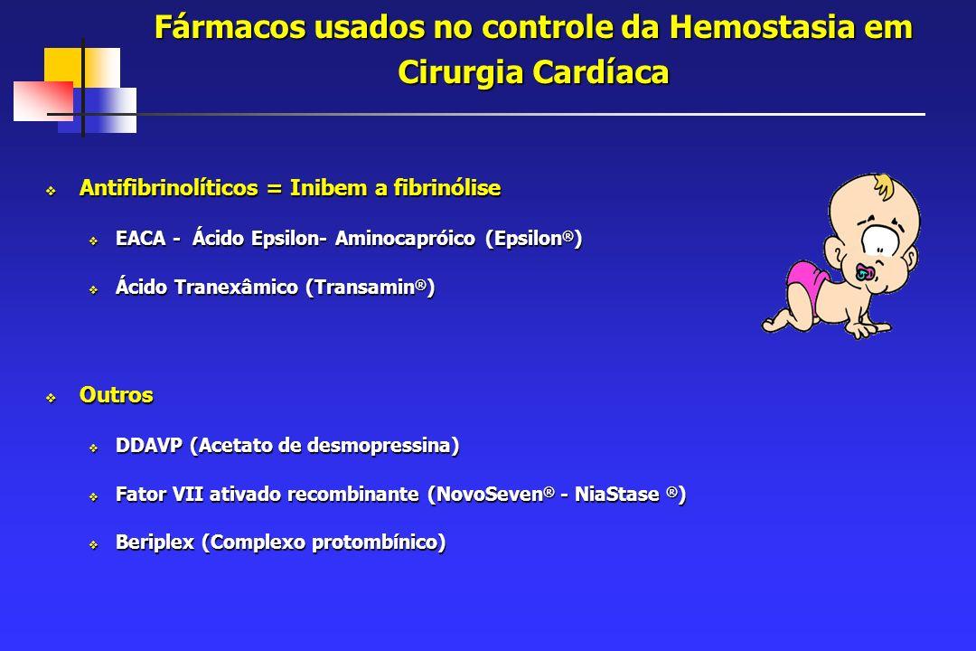 Fármacos usados no controle da Hemostasia em Cirurgia Cardíaca Antifibrinolíticos = Inibem a fibrinólise Antifibrinolíticos = Inibem a fibrinólise EACA - Ácido Epsilon- Aminocapróico (Epsilon ® ) EACA - Ácido Epsilon- Aminocapróico (Epsilon ® ) Ácido Tranexâmico (Transamin ® ) Ácido Tranexâmico (Transamin ® ) Outros Outros DDAVP (Acetato de desmopressina) DDAVP (Acetato de desmopressina) Fator VII ativado recombinante (NovoSeven ® - NiaStase ® ) Fator VII ativado recombinante (NovoSeven ® - NiaStase ® ) Beriplex (Complexo protombínico) Beriplex (Complexo protombínico)