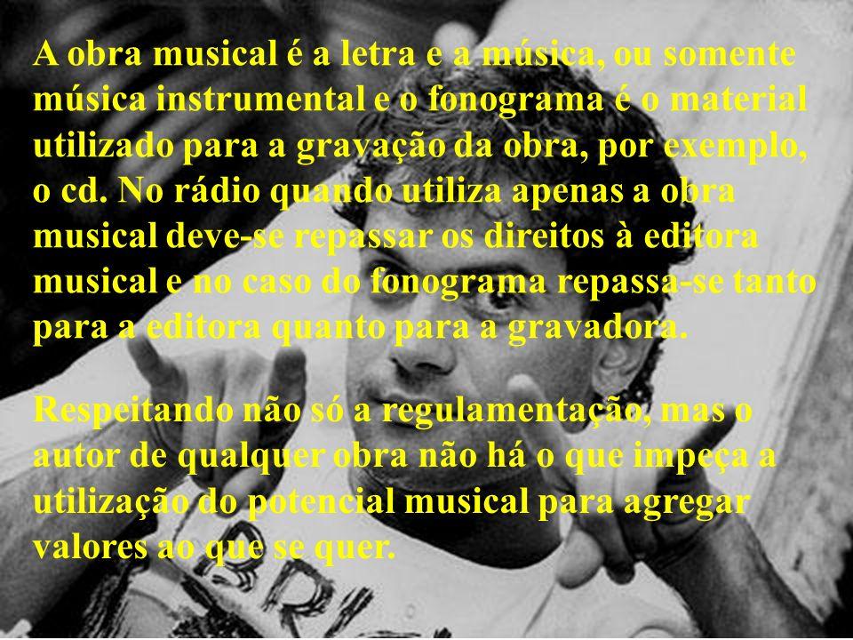 A obra musical é a letra e a música, ou somente música instrumental e o fonograma é o material utilizado para a gravação da obra, por exemplo, o cd. N
