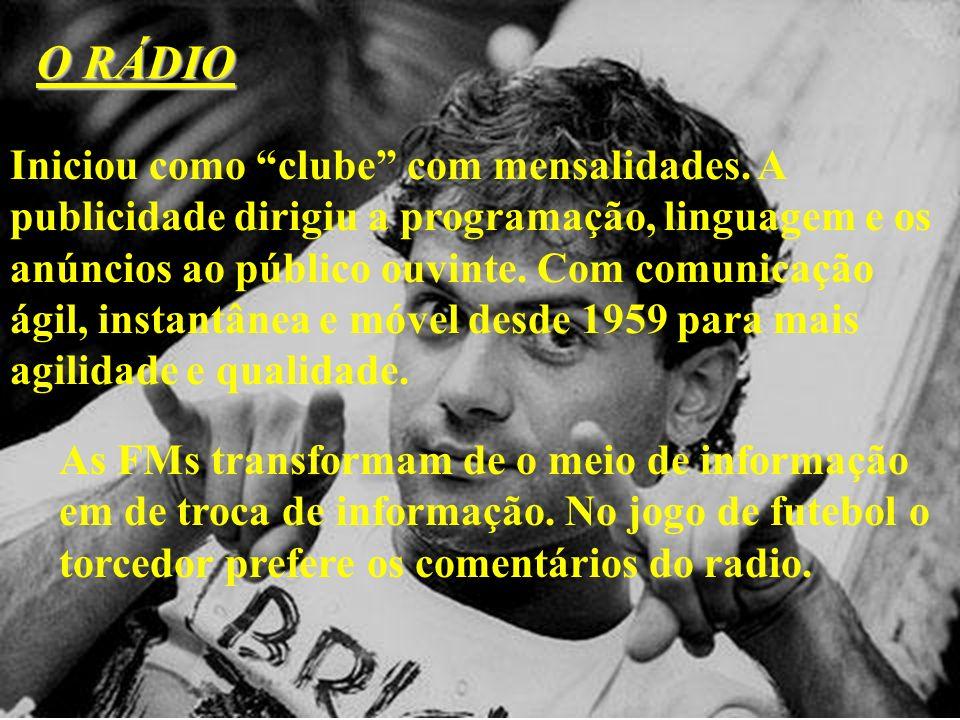 O RÁDIO Iniciou como clube com mensalidades. A publicidade dirigiu a programação, linguagem e os anúncios ao público ouvinte. Com comunicação ágil, in