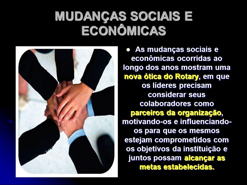 MUDANÇAS SOCIAIS E ECONÔMICAS As mudanças sociais e econômicas ocorridas ao longo dos anos mostram uma nova ótica do Rotary, em que os líderes precisa