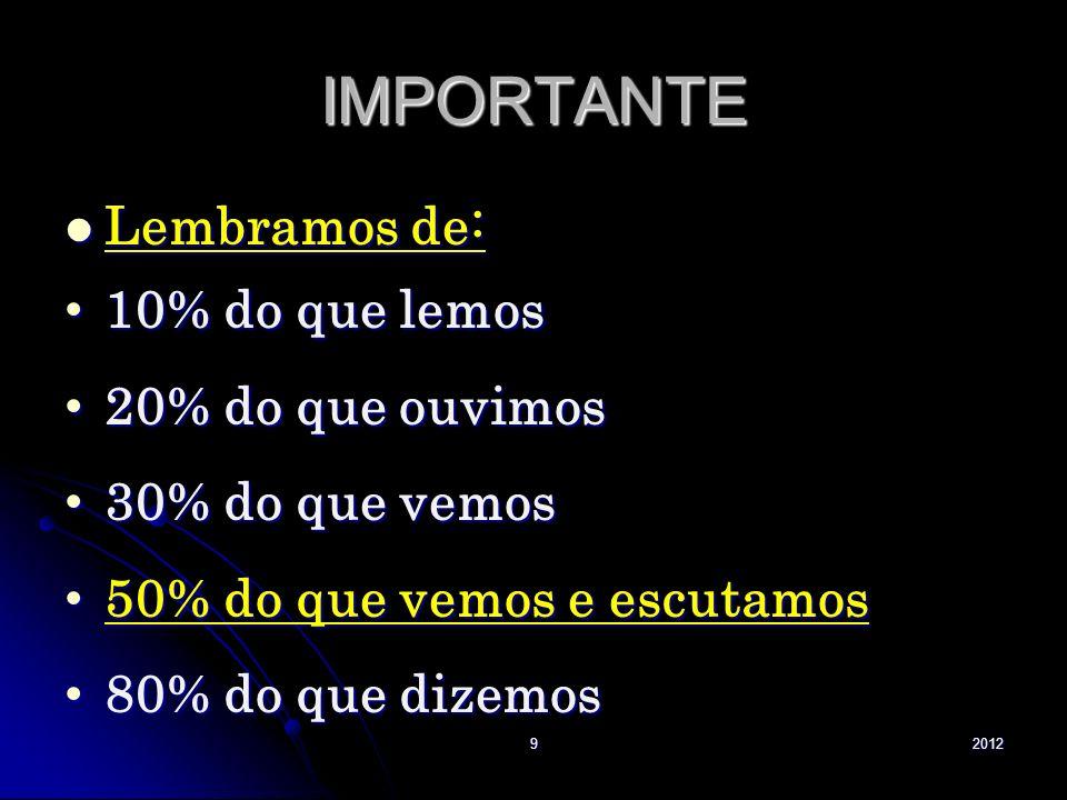 IMPORTANTE Lembramos de: Lembramos de: 10% do que lemos 10% do que lemos 20% do que ouvimos 20% do que ouvimos 30% do que vemos 30% do que vemos 50% d