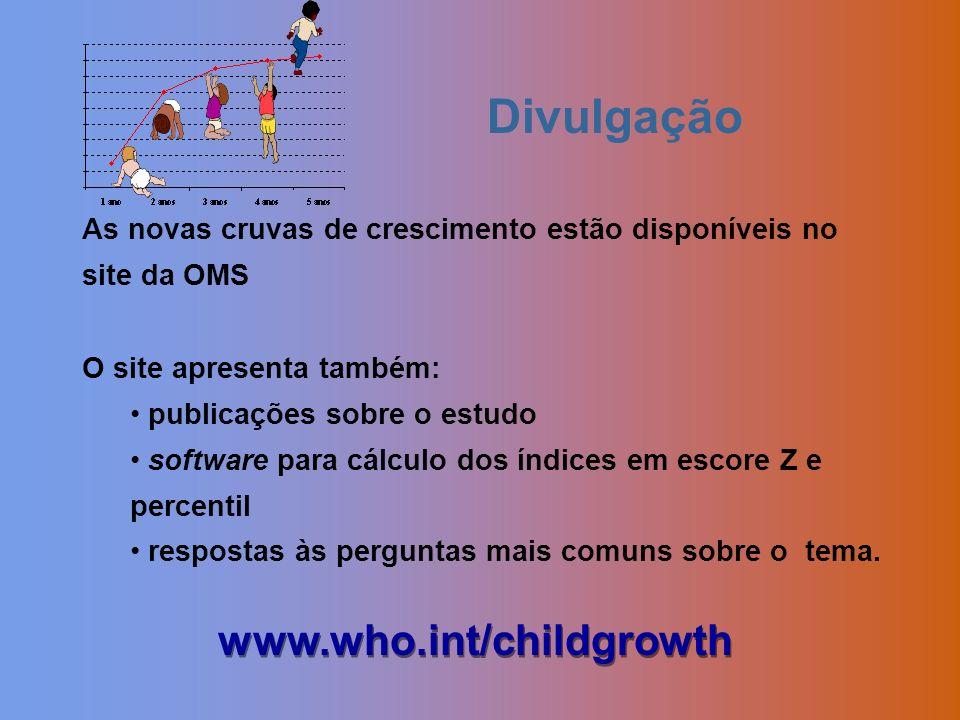 As novas cruvas de crescimento estão disponíveis no site da OMS O site apresenta também: publicações sobre o estudo software para cálculo dos índices