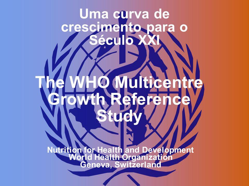 Uma curva de crescimento para o Século XXI The WHO Multicentre Growth Reference Study Nutrition for Health and Development World Health Organization G