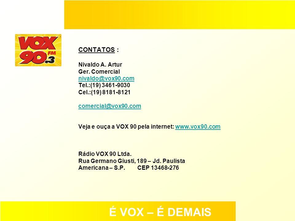 CONTATOS : Nivaldo A. Artur Ger. Comercial nivaldo@vox90.com Tel.:(19) 3461-9030 Cel.:(19) 8181-8121 comercial@vox90.com Veja e ouça a VOX 90 pela int