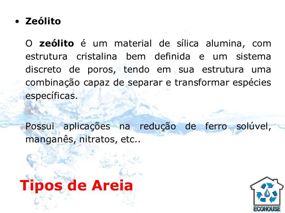 Tipos de Areia Areia de sílica (tratamento de água) Mineral natural composto por dióxido de silício, com características cristalinas, muito abundante na crosta terrestre; Existem padrões de qualidade que devem ser atendidos.