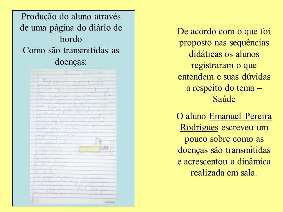 Produção do aluno através de uma página do diário de bordo Como são transmitidas as doenças: De acordo com o que foi proposto nas sequências didáticas