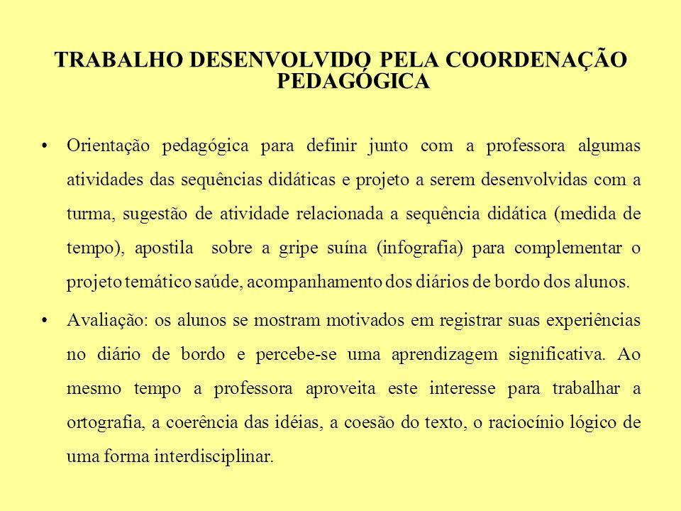 TRABALHO DESENVOLVIDO PELA COORDENAÇÃO PEDAGÓGICA Orientação pedagógica para definir junto com a professora algumas atividades das sequências didática