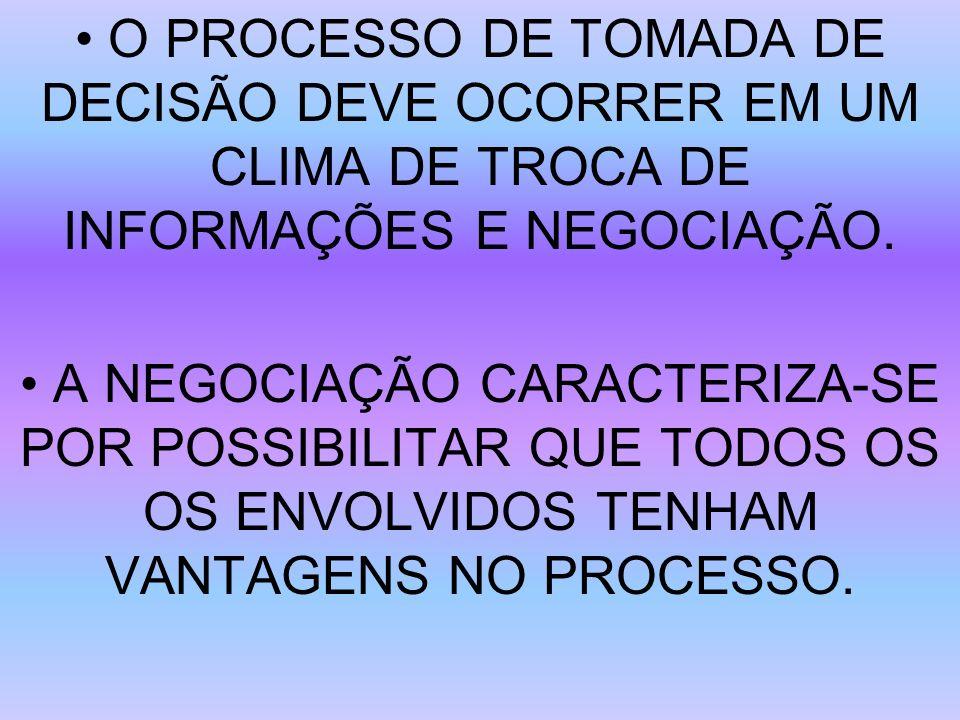 O PROCESSO DE TOMADA DE DECISÃO DEVE OCORRER EM UM CLIMA DE TROCA DE INFORMAÇÕES E NEGOCIAÇÃO. A NEGOCIAÇÃO CARACTERIZA-SE POR POSSIBILITAR QUE TODOS
