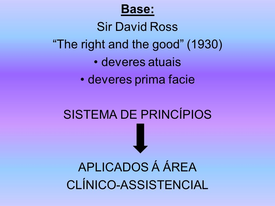 Base: Sir David Ross The right and the good (1930) deveres atuais deveres prima facie SISTEMA DE PRINCÍPIOS APLICADOS Á ÁREA CLÍNICO-ASSISTENCIAL
