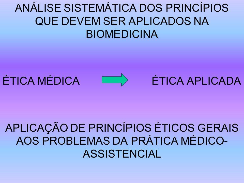 ANÁLISE SISTEMÁTICA DOS PRINCÍPIOS QUE DEVEM SER APLICADOS NA BIOMEDICINA ÉTICA MÉDICA ÉTICA APLICADA APLICAÇÃO DE PRINCÍPIOS ÉTICOS GERAIS AOS PROBLE