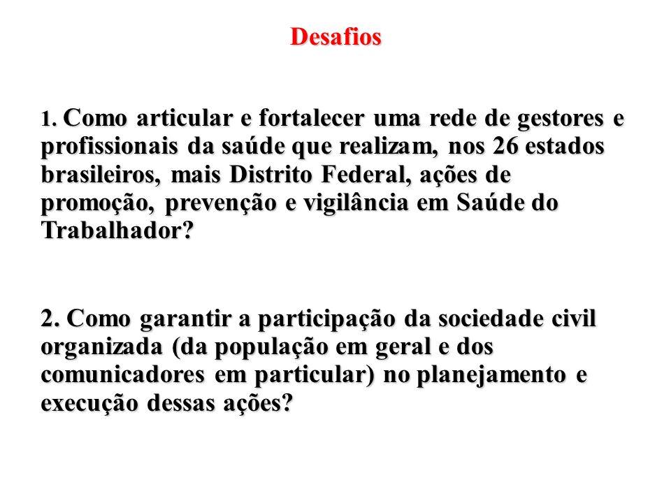 Desafios 1. Como articular e fortalecer uma rede de gestores e profissionais da saúde que realizam, nos 26 estados brasileiros, mais Distrito Federal,