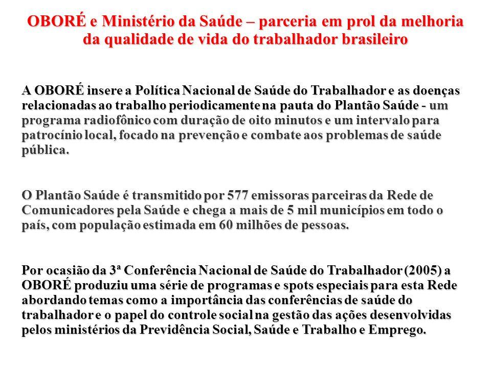 OBORÉ e Ministério da Saúde – parceria em prol da melhoria da qualidade de vida do trabalhador brasileiro A OBORÉ insere a Política Nacional de Saúde
