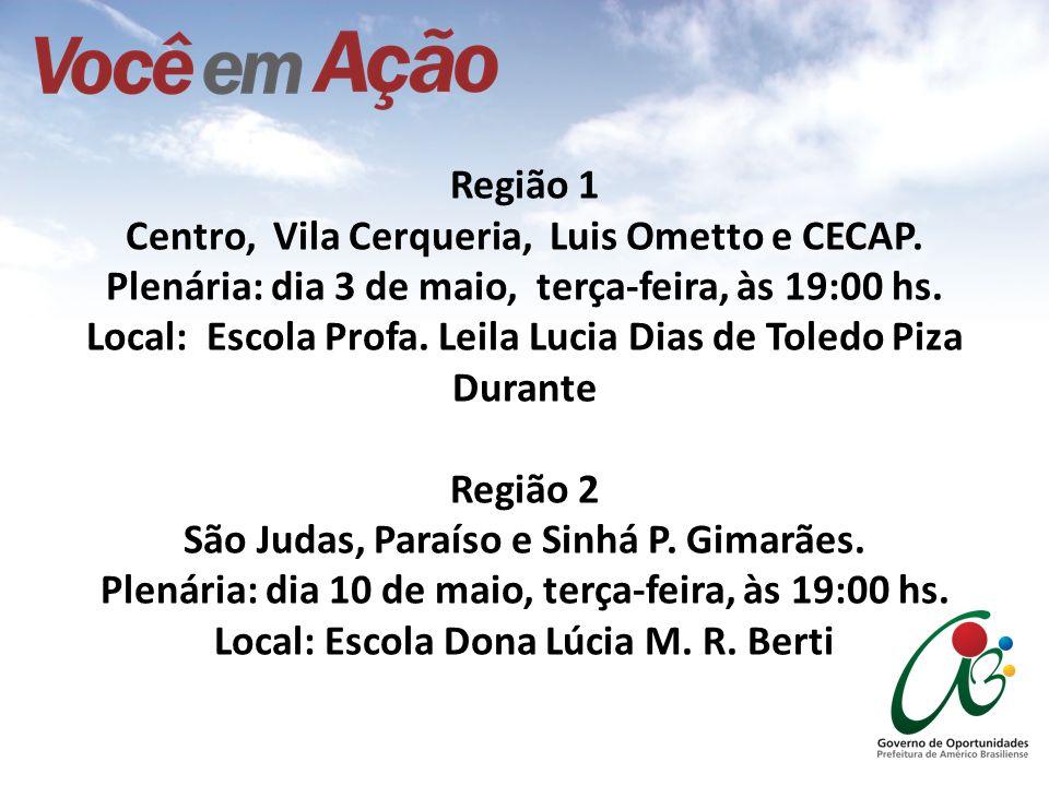 Região 1 Centro, Vila Cerqueria, Luis Ometto e CECAP. Plenária: dia 3 de maio, terça-feira, às 19:00 hs. Local: Escola Profa. Leila Lucia Dias de Tole