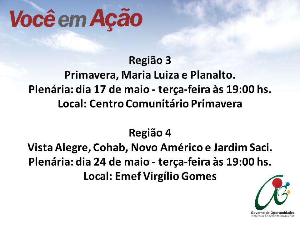 Região 3 Primavera, Maria Luiza e Planalto. Plenária: dia 17 de maio - terça-feira às 19:00 hs. Local: Centro Comunitário Primavera Região 4 Vista Ale