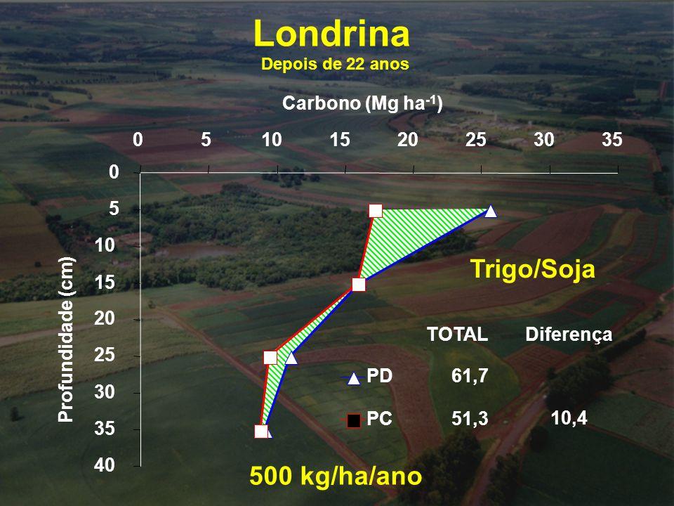 0 5 10 15 20 25 30 35 40 05101520253035 Carbono (Mg ha -1 ) Profundidade (cm) PD PC 61,7 51,3 TOTALDiferença 10,4 500 kg/ha/ano Londrina Depois de 22