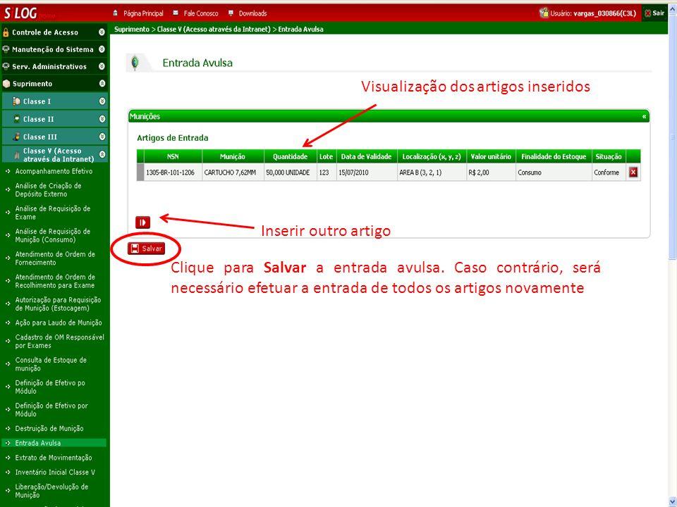 Visualização dos artigos inseridos Clique para Salvar a entrada avulsa.