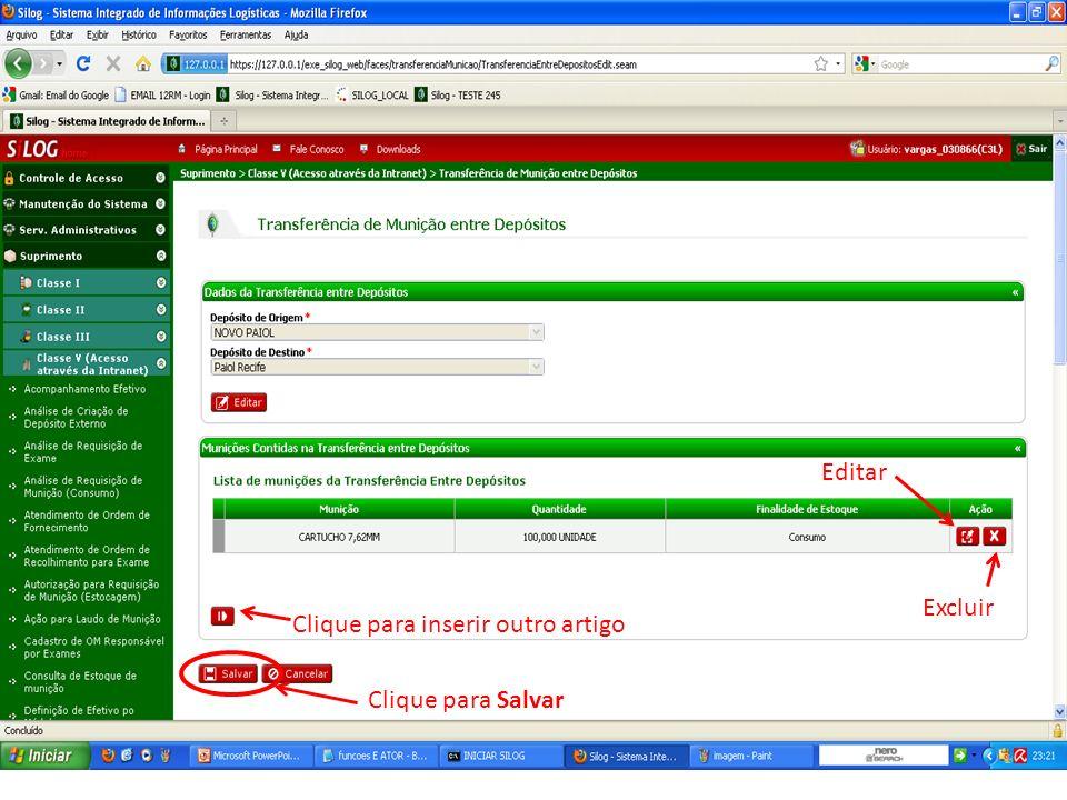 Editar Excluir Clique para inserir outro artigo Clique para Salvar