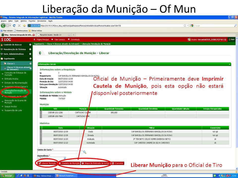 Oficial de Munição – Primeiramente deve Imprimir Cautela de Munição, pois esta opção não estará disponível posteriormente Liberar Munição para o Oficial de Tiro Liberação da Munição – Of Mun