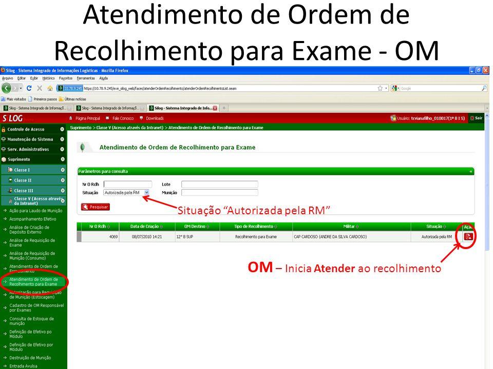Atendimento de Ordem de Recolhimento para Exame - OM Situação Autorizada pela RM OM – Inicia Atender ao recolhimento