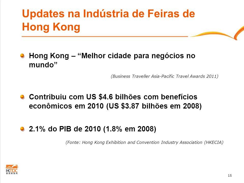 15 Updates na Indústria de Feiras de Hong Kong Hong Kong – Melhor cidade para negócios no mundo (Business Traveller Asia-Pacific Travel Awards 2011) C