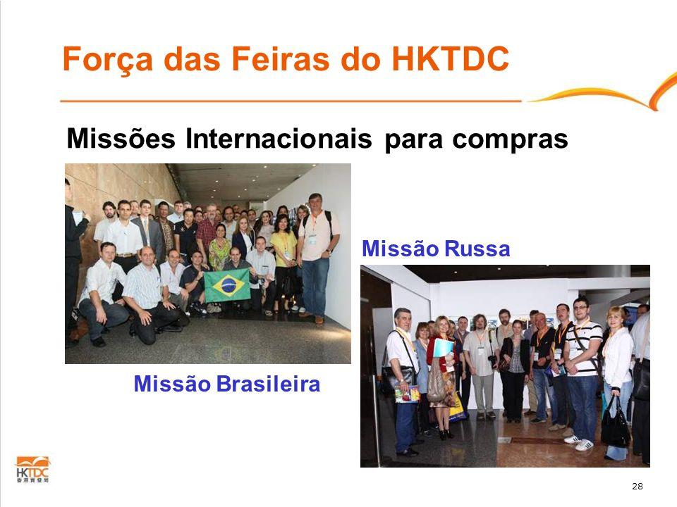 28 Força das Feiras do HKTDC Missão Russa Missão Brasileira Missões Internacionais para compras