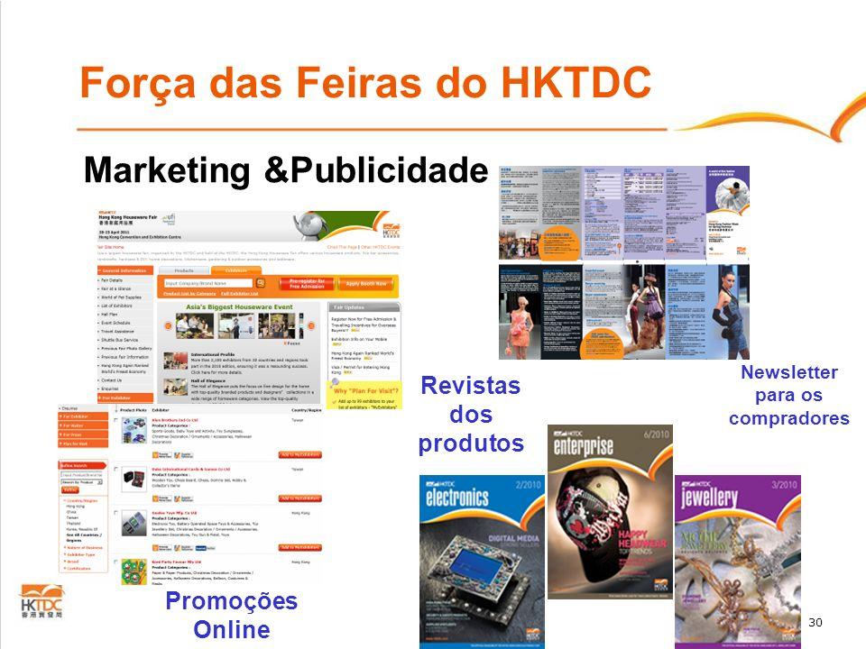 30 Força das Feiras do HKTDC Marketing &Publicidade Promoções Online Revistas dos produtos Newsletter para os compradores