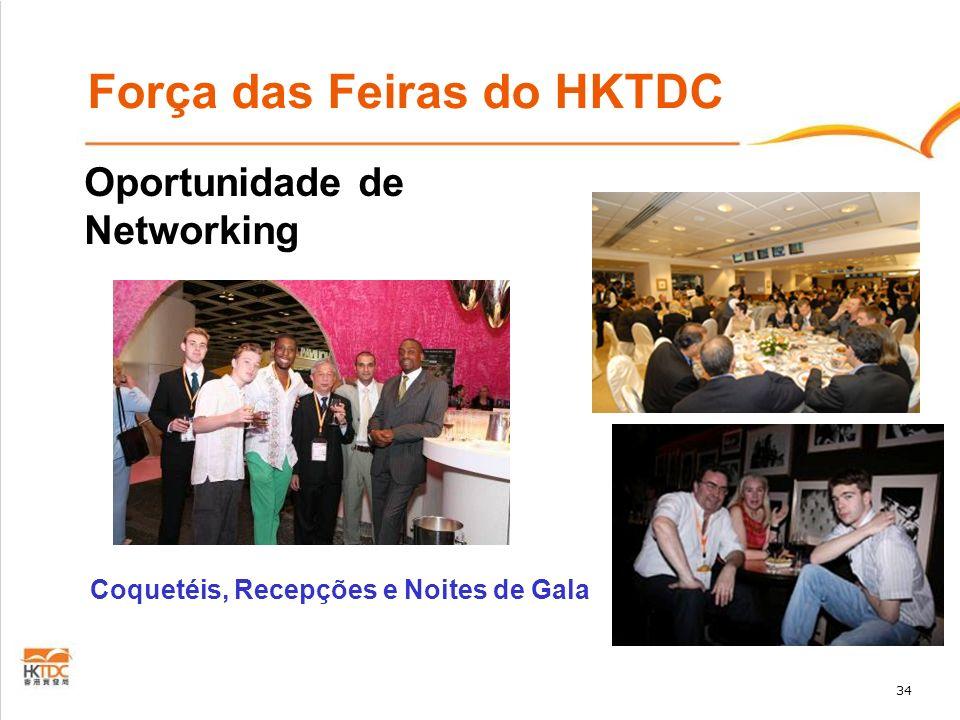 34 Força das Feiras do HKTDC Oportunidade de Networking Coquetéis, Recepções e Noites de Gala