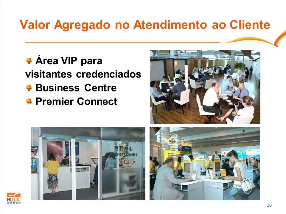 38 Valor Agregado no Atendimento ao Cliente Área VIP para visitantes credenciados Business Centre Premier Connect