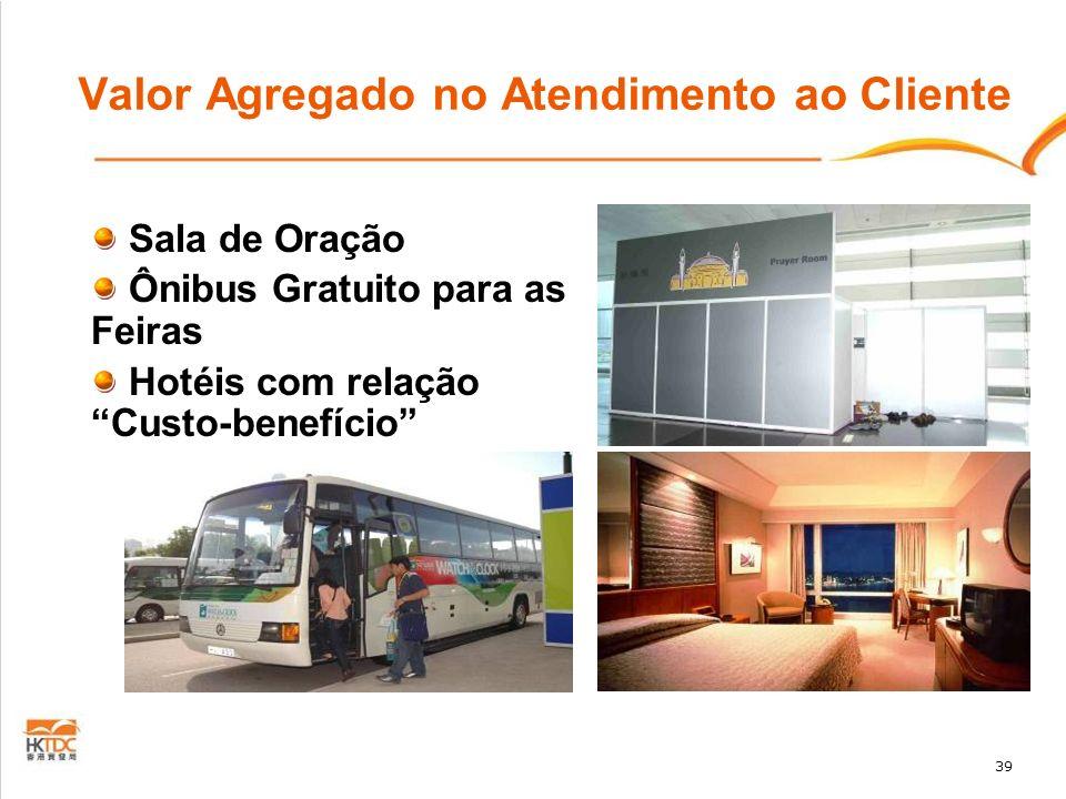 39 Valor Agregado no Atendimento ao Cliente Sala de Oração Ônibus Gratuito para as Feiras Hotéis com relação Custo-benefício