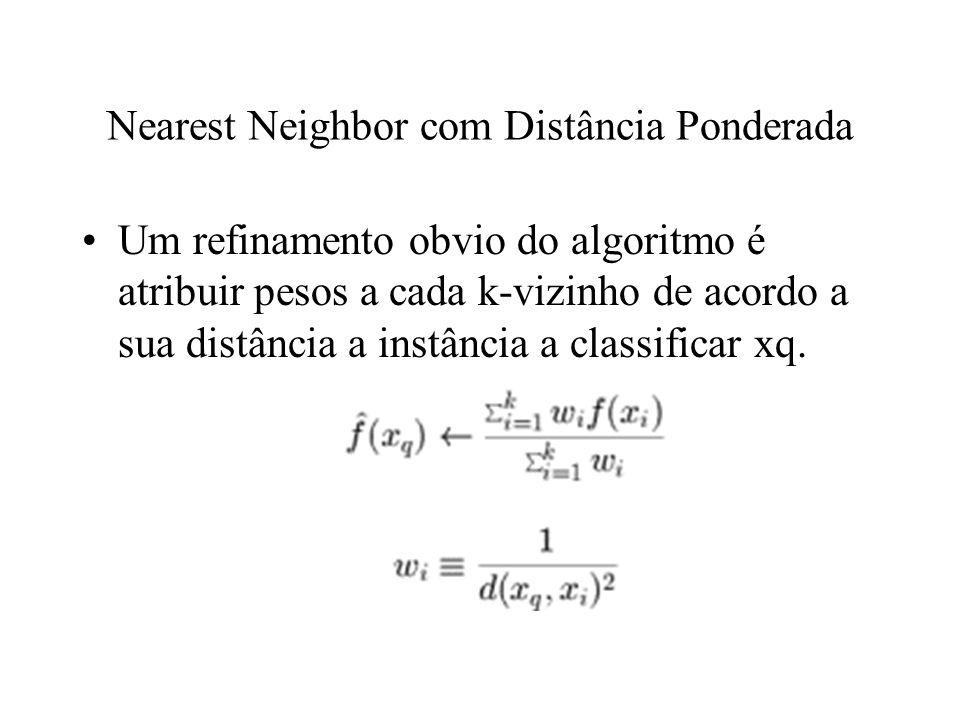Nearest Neighbor com Distância Ponderada Um refinamento obvio do algoritmo é atribuir pesos a cada k-vizinho de acordo a sua distância a instância a c