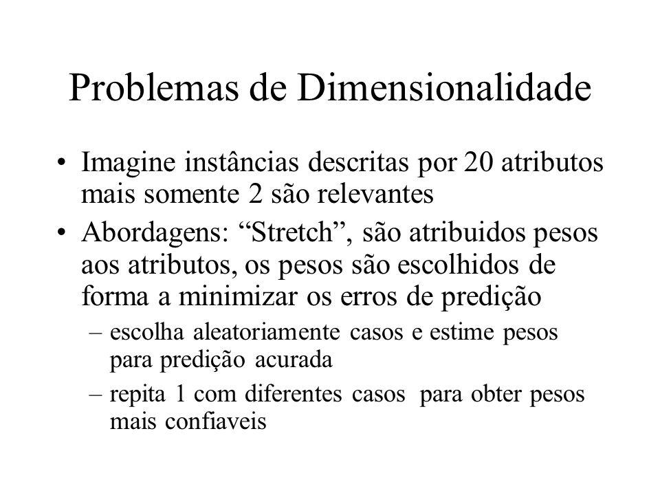 Problemas de Dimensionalidade Imagine instâncias descritas por 20 atributos mais somente 2 são relevantes Abordagens: Stretch, são atribuidos pesos ao